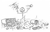 Cartoon Stick Drawing Conceptual Illustration Of Naughty Or Disobedient Little Boy Doing Mess In Roo poster