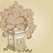 image of wooden box from coffee mill  - Coffee background - JPG