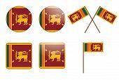Badges With Flag Of Sri Lanka