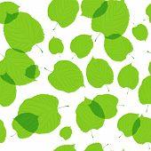 Padrão sem emenda de folhas verdes sobre fundo branco