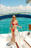 Young Sexual Blond Woman In Bikini