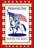 picture of civil war flags  - Poster greeting card illustration of a patriot union cavalry american civil war soldier blowing bugle riding horse holding an American stars and stripes flag and words memorial day honor the brave - JPG