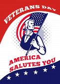 stock photo of veterans  - Poster greeting card illustration of a patriot minuteman revolutionary soldier holding an American stars and stripes flag and words veterans day america salutes you - JPG