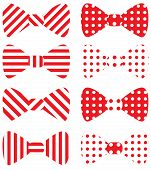 Set of red vector bow ties