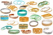 Set Of The Colorful Asian Bangles Isolated On White.