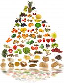 pic of healthy food  - healthy food pyramid and water reflection as a background - JPG