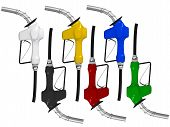Various Colored Gas Pumps