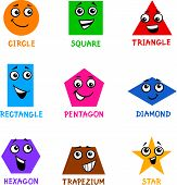 foto of trapezoid  - Cartoon Illustration of Basic Geometric Shapes Comic Characters with Captions for Children Education - JPG