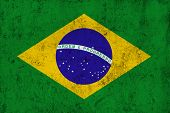 Grunge Dirty And Weathered Brazilian Flag