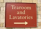 Sign. Tearoom And Lavatories Sign.