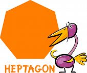stock photo of heptagon  - Cartoon Illustration of Heptagon Basic Geometric Shape with Funny Bird Character for Children Education - JPG