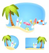 Collection Of Summer Theme Illustrations With Palm