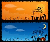 Cute Halloween Theme Banners With A Spooky Graveyard