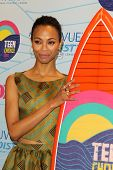 LOS ANGELES - JUL 22:  Zoe Saldana in the Press Room of the 2012 Teen Choice Awards at Gibson Ampith