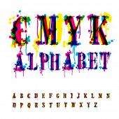 CMYk alphabet. Composition from unrecognized different letters and drops and streaks. Contains three