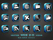 Vector illustration of 3D, web 2.0 mail icons set in black and blue color. Can be used for websites,
