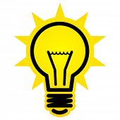 image of fluorescent light  - Shining light bulb icon - JPG