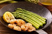 picture of barbary duck  - Prawns with asparagus - JPG