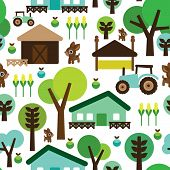 Seamless farm animals country background pattern in vector