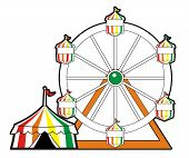 stock photo of ferris-wheel  - Multi colored circus tent with ferris wheel - JPG