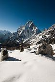 stock photo of cho-cho  - Cho La pass at daybreak in Himalayas - JPG