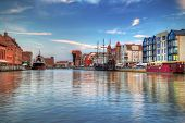 Harbor with crane in old town of Gdansk, Poland