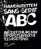 Handwritten grunge sans-serif alphabet. Raster version.