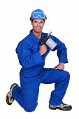 picture of blow torch  - Welder with blow torch - JPG