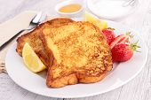 stock photo of french toast  - french toast with strawberry - JPG