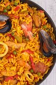 close up on paella
