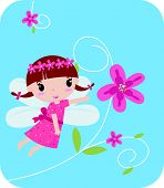 stock photo of tinkerbell  - Illustration of a cute cartoon flower fairy - JPG