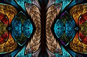 stock photo of yellow  - Fractal pattern in stained glass style - JPG