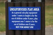 Safety sign at playground.