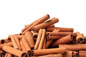 Cinnamon sticks isolated on white