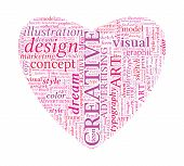 Creative Design Love Shaped Vector Typographic Word Cloud