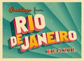 Vintage Touristic Greeting Card - Rio De Janeiro, Brazil - Vector EPS10. Grunge effects can be easil