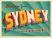 Vintage Touristic Greeting Card - Sydney, Australia - Vector EPS10. Grunge effects can be easily rem