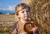 Little Boy Eating German Pretzel On Goden Hay Field