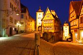 picture of bavaria  - Rothenburg ob der Tauber at night - JPG