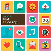 Flat UI design trend set icons