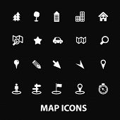 map, navigation, navigator, white isolated icons, signs on black background for design template, vec