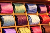 Close up shot of ties in rack Shallow DOF