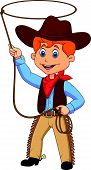 stock photo of work boots  - Vector illustration of Cowboy kid cartoon twirling a lasso - JPG