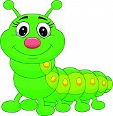 stock photo of larva  - Vector illustration of Cute green caterpillar cartoon - JPG