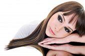 picture of beautiful brunette woman  - Portrait of beautiful brunette caucasian woman face - JPG