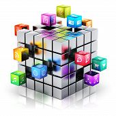 foto of cube  - Creative mobile applications media technology and internet networking web communication concept - JPG