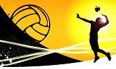 stock photo of volleyball  - Volleyball jumping girl sport background with space - JPG