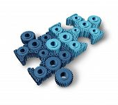 stock photo of economy  - Jigsaw puzzle connections business concept building a working network partnership for communication between two groups of teams as three dimensional gears and cogs shaped as pieces from puzzles connected together - JPG