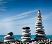 Three Pyramids Of Stones For Meditation
