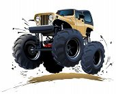stock photo of muscle-car  - Vector Cartoon Monster Truck isolated on white background - JPG